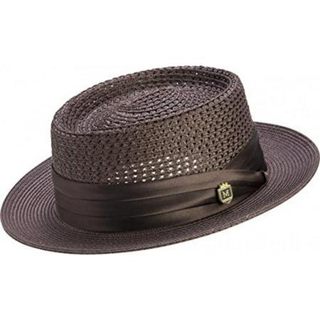 Pumpkin Pie Hat (Montique Men's Mesh Straw Pork Pie Hat H49 (XL,)
