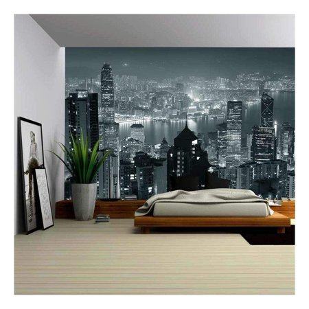 wall26 - Hong Kong City Skyline at Night with Victoria Harbor and Skyscrapers - Removable Wall Mural | Self-Adhesive Large Wallpaper - 100x144 - Windy City Wallpaper