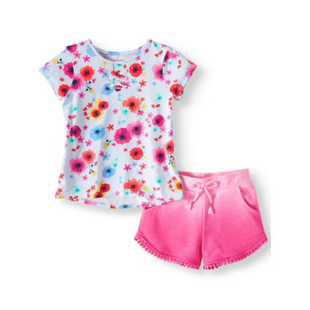 Lace-Up Top & Soft Knit Dolphin Shorts, 2pc Outfit Set (Toddler Girls) - Cow Dressing Up Outfit