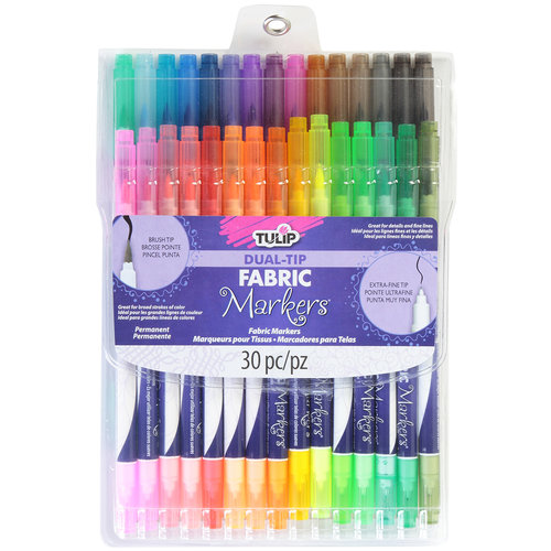 Tulip Dual Tip Fabric Markers, 30pk, Assorted