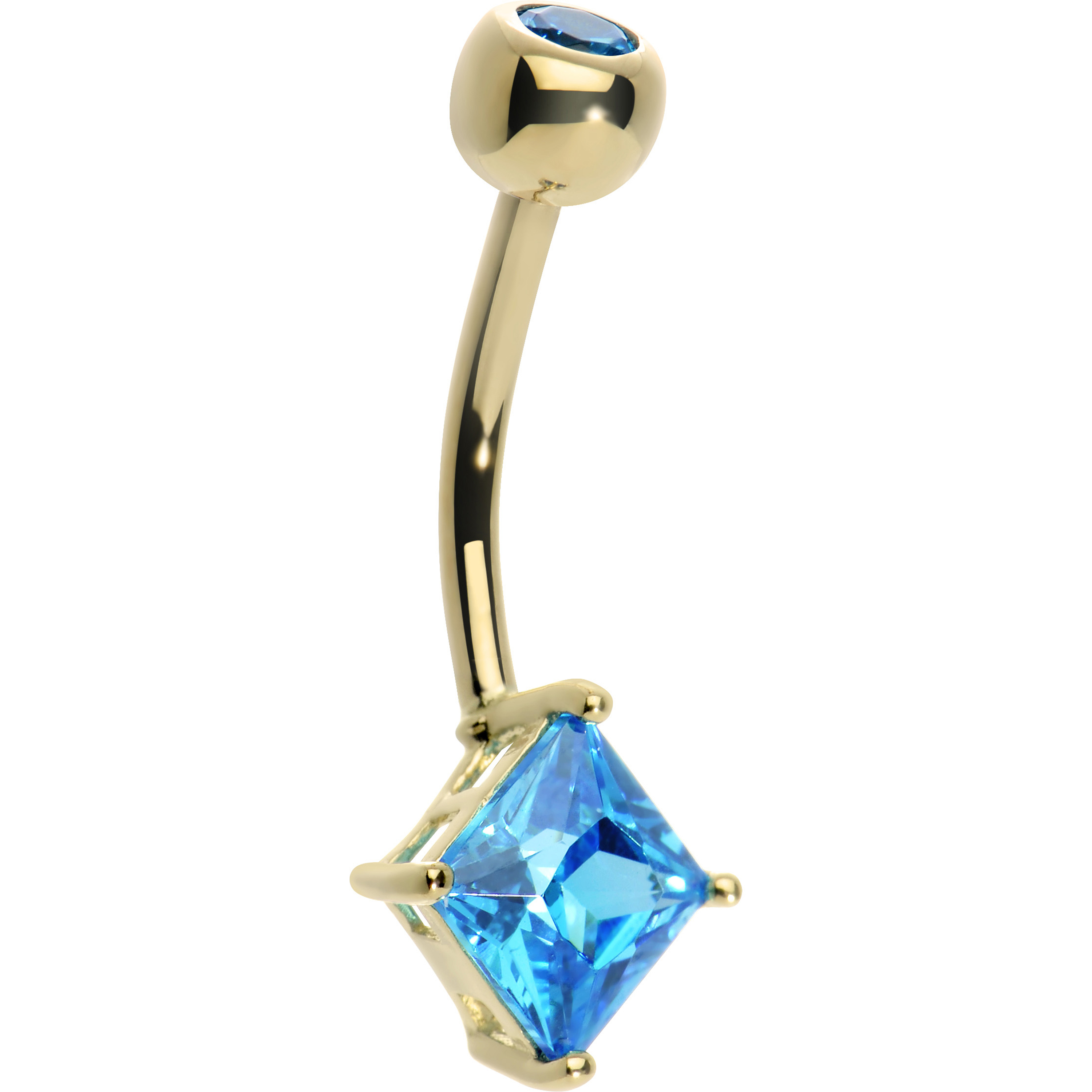 Body Candy 14k Yellow Gold 6mm Bright Blue Princess Cubic...