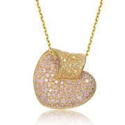 Collette Z  Gold Overlay Clear Cubic Zirconia Pave Pendant Necklace - White