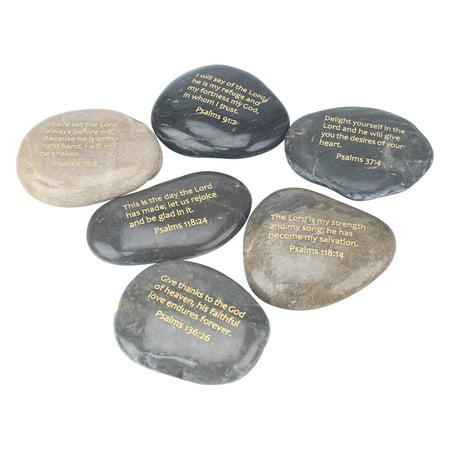 Brown Set Figurine (CKK Home Decor Bible Verse Rock Figurines - Set of 6)