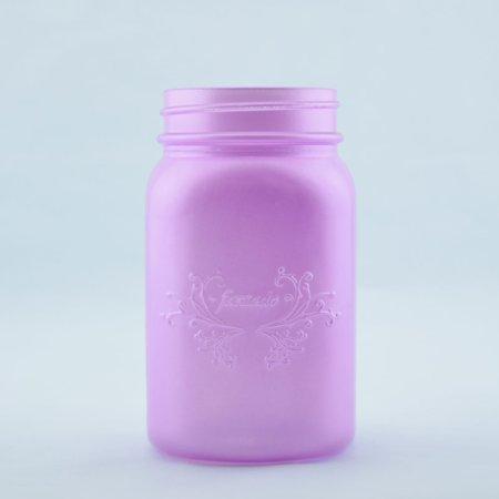 Fantado Regular Mouth Frosted Lavender Mason Jar w/ Handle, 16oz / 1