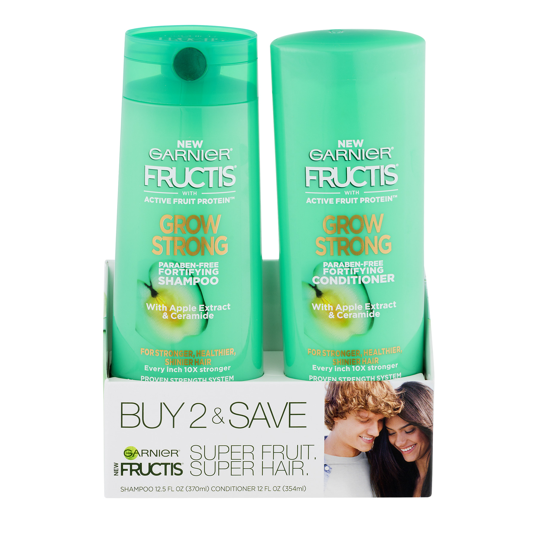 Garnier Fructis Grow Strong Shampoo and Conditioner with Apple Extract & Ceramide, 24.5 FL OZ