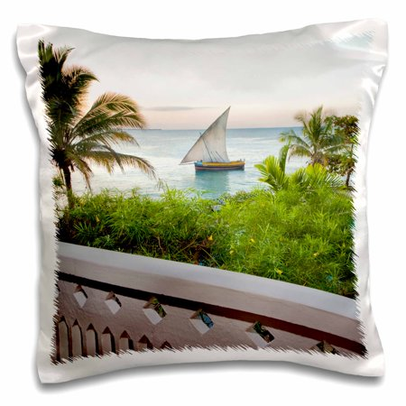 3dRose Stone Town, Zanzibar, Tanzania. A dhow heads toward Dar es Salaa., Pillow Case, 16 by (Zanzibar Jungle)
