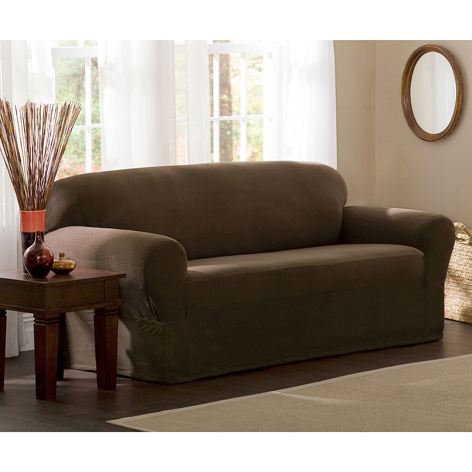 Maytex Stretch Reeves 1 Piece Sofa Furniture Cover Slipcover