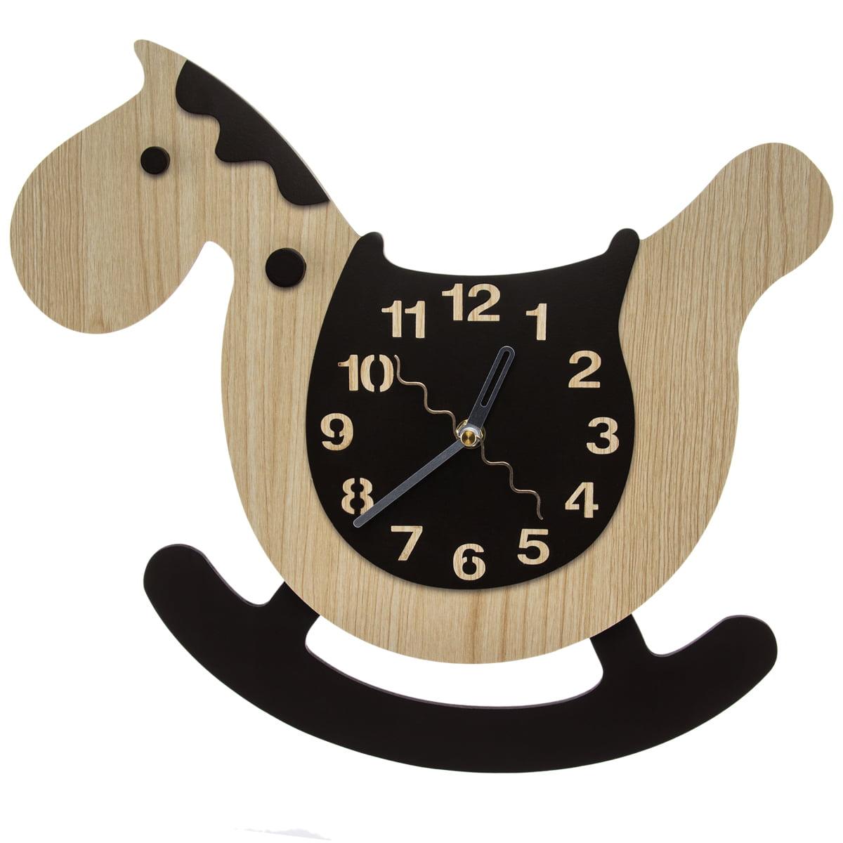 Rocking Horse Pendulum Wall Clock Non Ticking Nursery Kids Room Children Baby