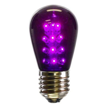 Vickerman S14 LED Purple Transparent Bulb E26 Nickel Base ()