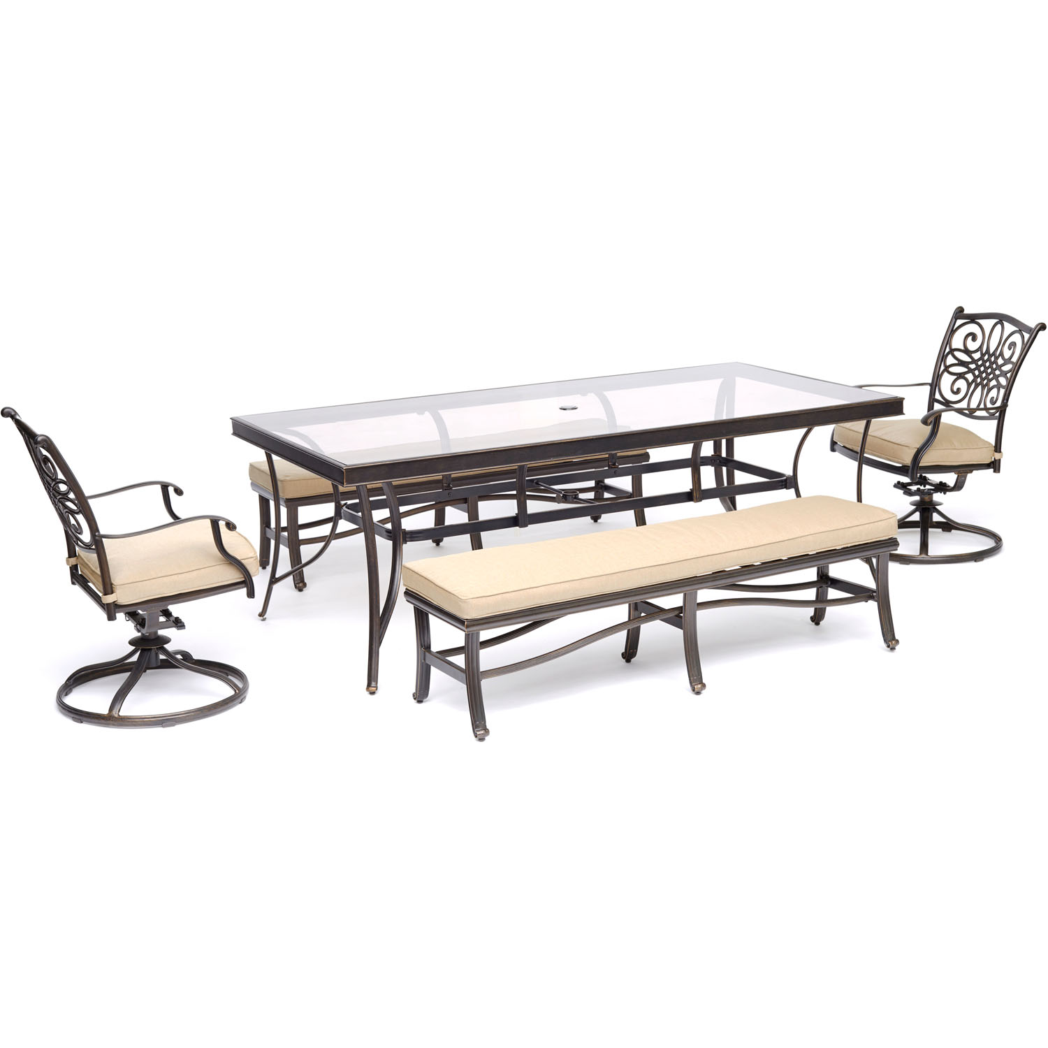 """Hanover Traditions 5-Piece Patio Dining Set in Tan with 2 Swivel Rockers, 2 Cushioned Benches, and a 42"""" x 84"""" Glass-Top Table"""
