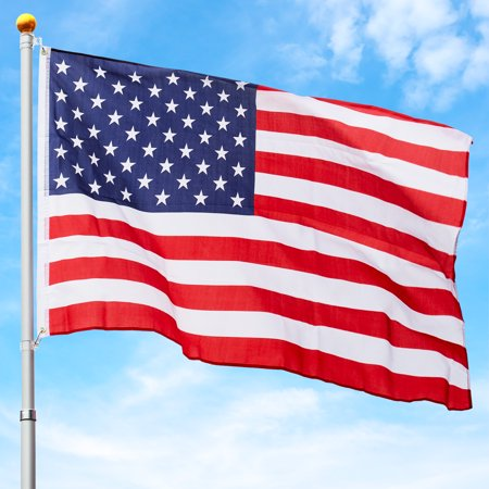 Best Choice Products 25ft Telescopic Aluminum Flagpole w/ American Flag and Gold Ball - Multicolor
