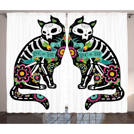 Day Of The Dead Decor Curtains 2 Panels Set, Skeleton Cats Festive Celebration Spanish Art Print, Window Drapes for Living Room Bedroom, 108W X 84L Inches, Black White Turquoise Pink, by Ambesonne