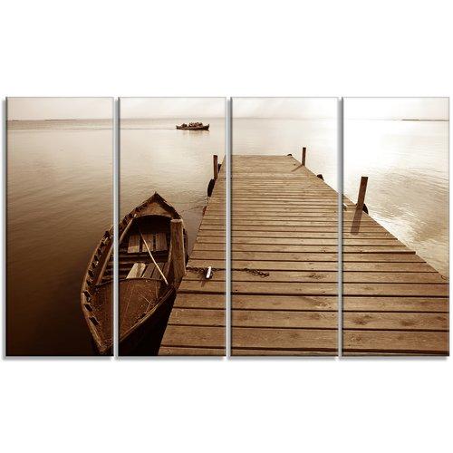 Design Art 'Albufera Lake Wetlands Pier' Photographic Print Multi-Piece Image on Canvas