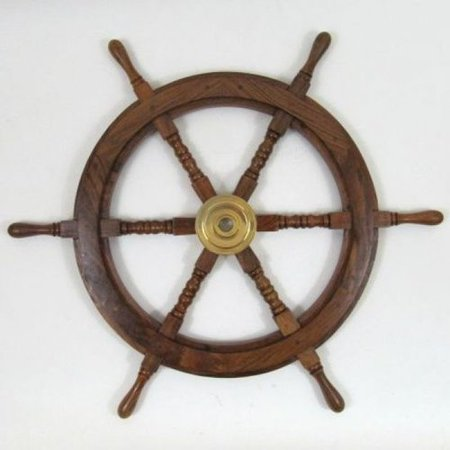 Brass Woodland Leaf - Woodland Imports Ships Wheel Helm with Brass Center Wall D cor