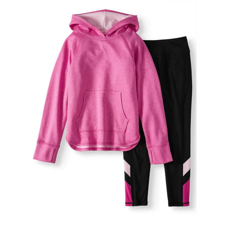 Athletic Works Brushed Fleece Crossover Hoodie & Legging, 2-Piece Active Set (Little Girls and Big Girls)