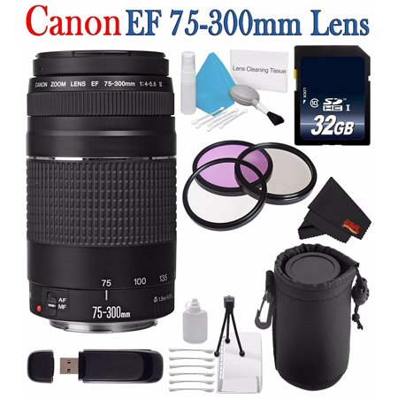 Canon EF 75-300mm f/4-5.6 III Telephoto Zoom Lens + 58mm 3 Piece Filter Kit + SD Card USB Reader + 32GB SDHC Class 10 Memory Card + Deluxe Starter Kit + Deluxe Lens Pouch Bundle