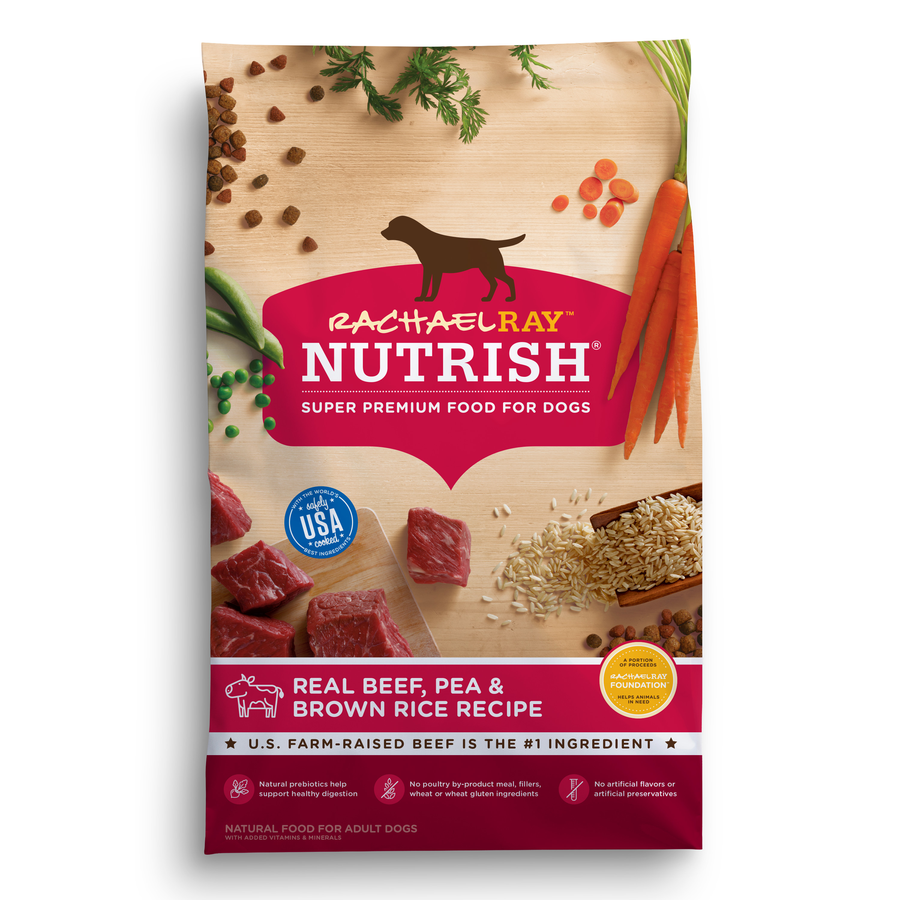 Rachael Ray Nutrish Natural Dry Dog Food, Real Beef, Pea & Brown Rice Recipe, 28 lbs