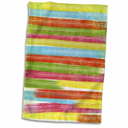 3dRose Grunge Brush Stroke Stripes In Yellow, Orange, Green, Red, Pink - Towel, 15 by 22-inch