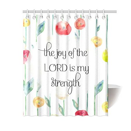 MKHERT Floral Bible Verse Quote The Joy of The Lord is My Strength Decor  Waterproof Polyester Bathroom Shower Curtain Bath 60x72 inch