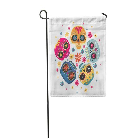 KDAGR Colorful Dia De Los Muertos Mexican Sugar Skulls Garden Flag Decorative Flag House Banner 28x40 inch](Dia De Los Muertos Flags)