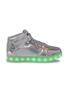 LED Light Up Sneakers High Top USB Charging Women Lace & Strap Shoes Silver