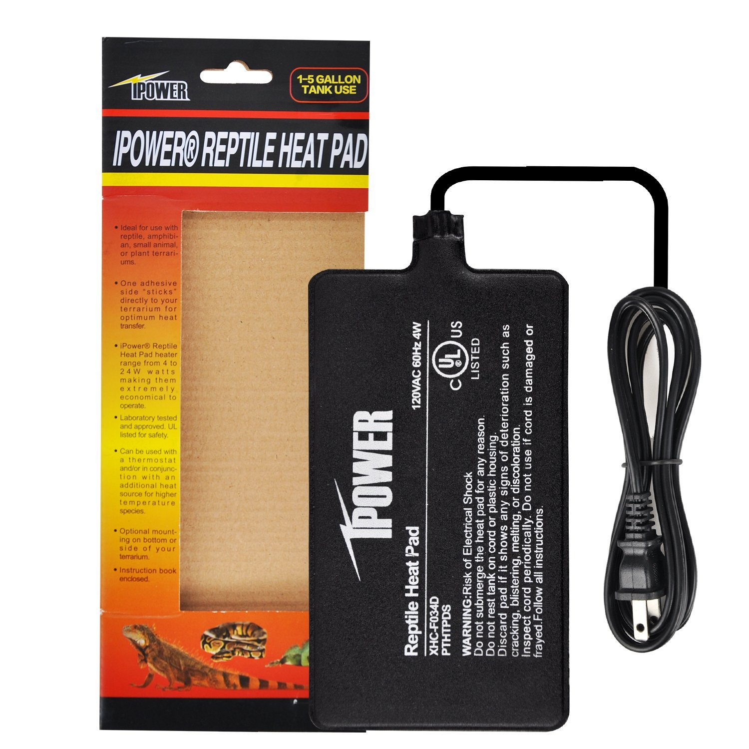 "iPower 4""x7"" Under Tank Heater for Reptile Terrariums Heat Mats-4 Watts"