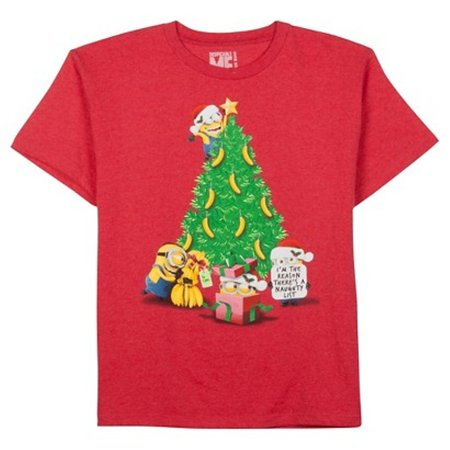 despicable me youth unisex minions banana christmas tree red t shirt tee - Minion Christmas Shirt
