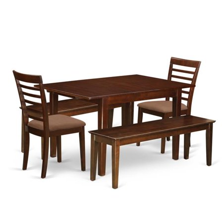 Dinette Set - Small Dining Tables & 2 Chairs with Solid Wood Seat Plus 2 Benches - 5 Piece ()