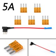 Areyourshop 1  Micro3 Fuse Automotive ATL 3 Prong Blade Fuse Holder + 5  5A Micro3 Fuse