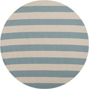 8' Recumbent Striped Sky Blue and Ivory Hand Hooked Round Outdoor Area Throw Rug