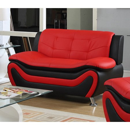 Frady Faux Leather Modern Loveseat Black And Red