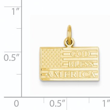 14k Yellow Gold God Bless America Flag Pendant Charm Necklace Travel Transportation Patriotic Man Fine Jewelry Gift For Dad Mens For Him - image 1 de 6