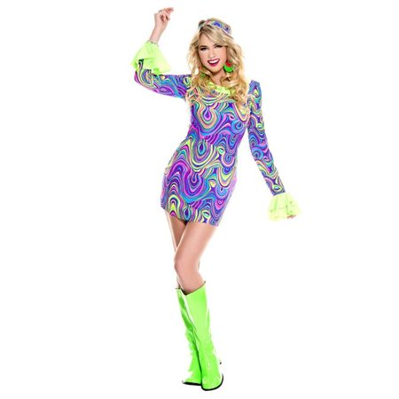 Music Legs 70779-XS 2 Piece Psychedelic Print Mini Dress with Long Ruffle Sleeves with Matching Headband, Extra Small - image 1 of 1