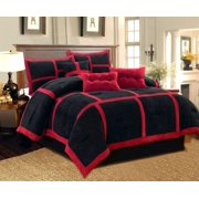 Dawn King Size 7 Piece Micro Suede Comforter Bedding Set Soft Patchwork Oversized Bed In