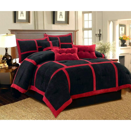 Dawn Queen Size 7-Piece Micro Suede Comforter Bedding Set Soft Patchwork Oversized Bed in a Bag Black &