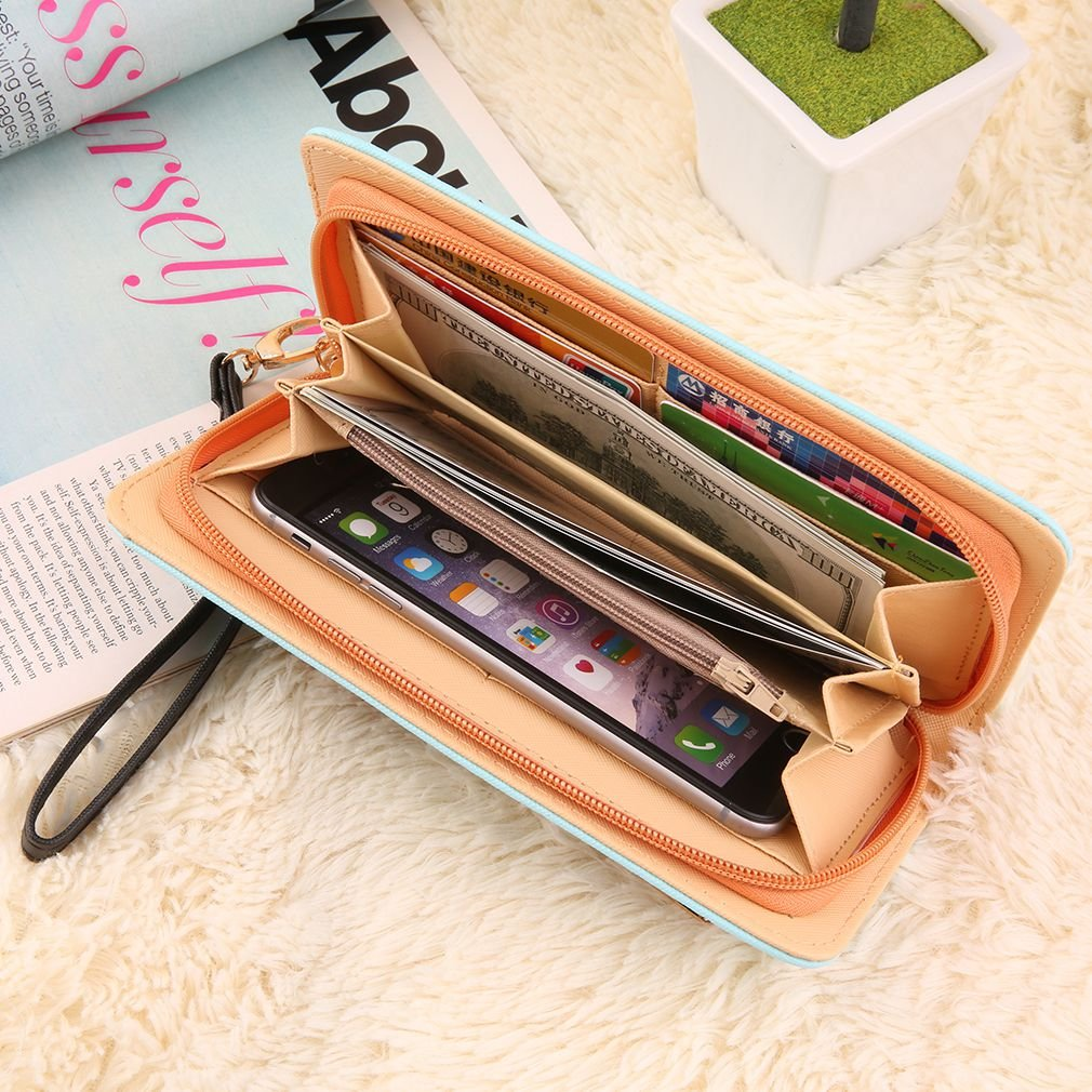 Women Cat Print PU Leather Wallet Zipper Wrist Strap Long Purse Fold Handbag