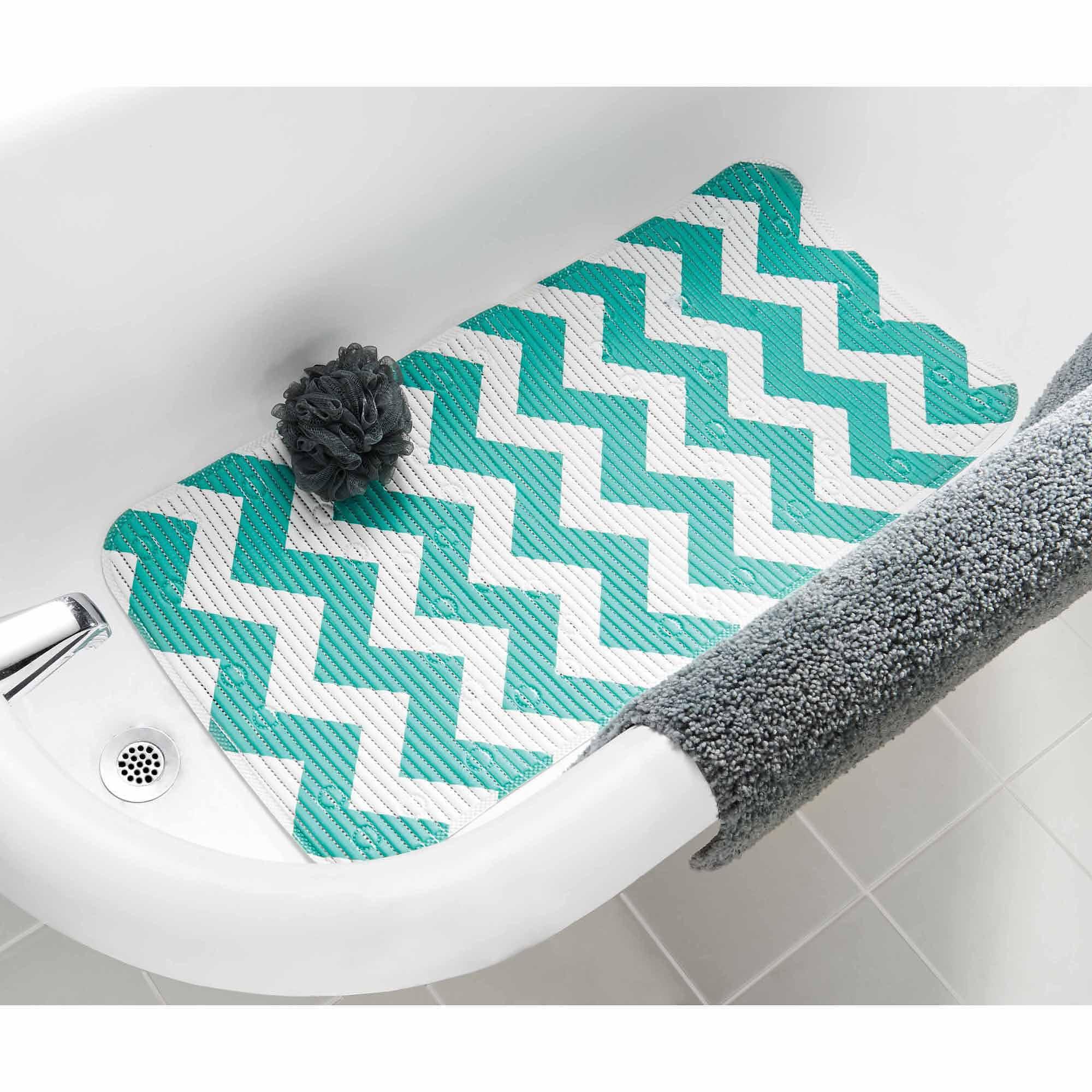 Mainstays Softex Designer Cushion Bath Mat, Chevron Teal Island ...