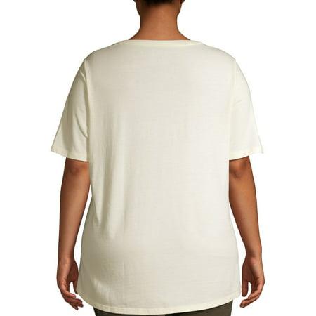 Terra & Sky Women's Plus Size Short Sleeve Everyday Essential V-Neck T-Shirt
