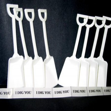 Small Toy Plastic Shovels White, 24 Pack, 7 Inches Tall, 24 I Dig You Stickers - I Dig You