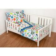Sumersault Simple Circles Navy 4-Piece Toddler Bedding Set