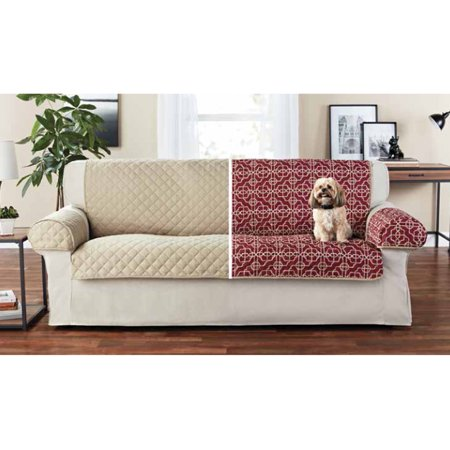 Mainstays Reversible 3-Piece Microfiber Sofa Cover Protector, Tan/Red