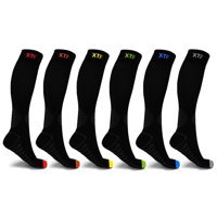 6-Pair Recover Compression Socks for Men and Women Knee High - made for running, athletics, pregnancy and travel