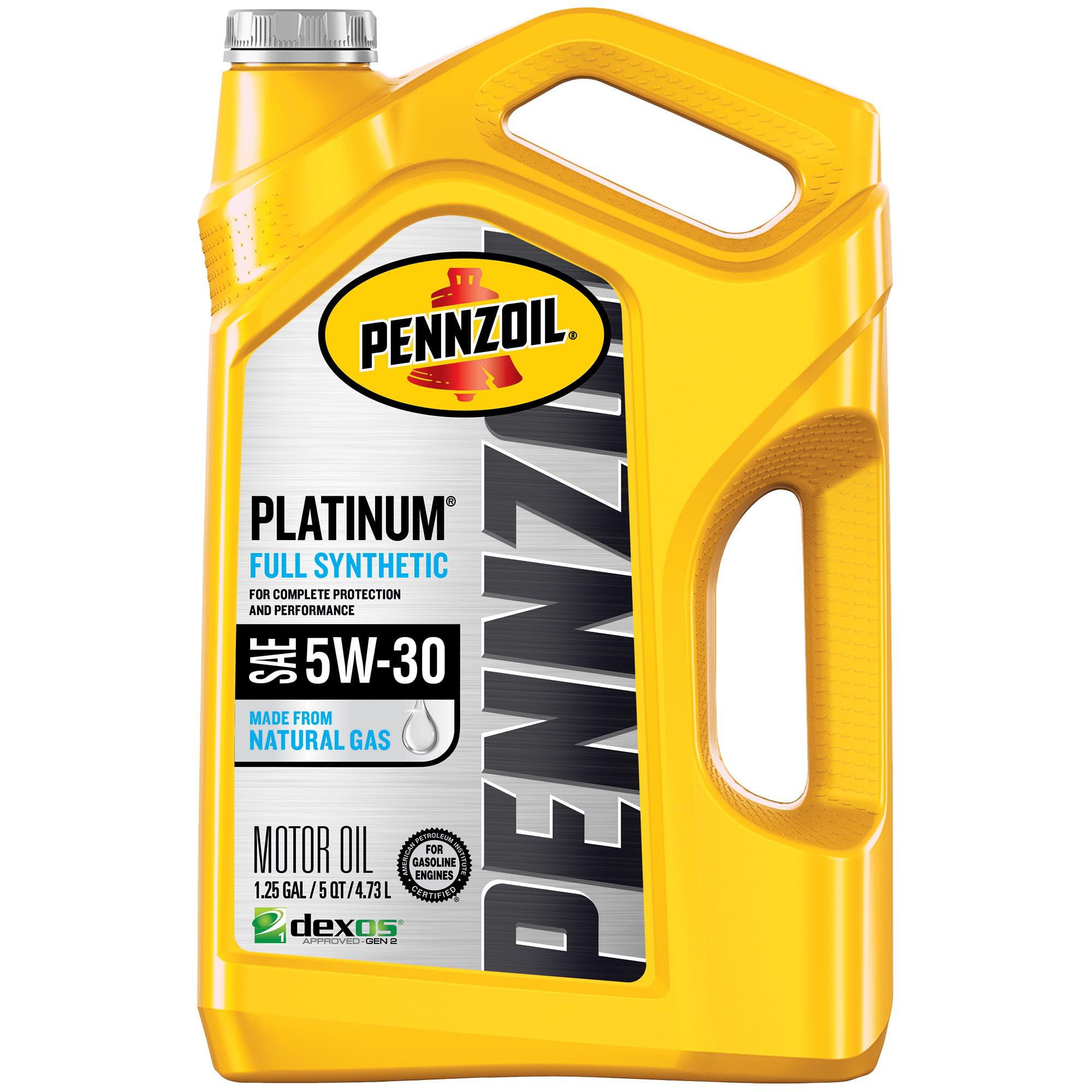 Pennzoil Platinum 5W-30 Full Synthetic Motor Oil, 5 Quart