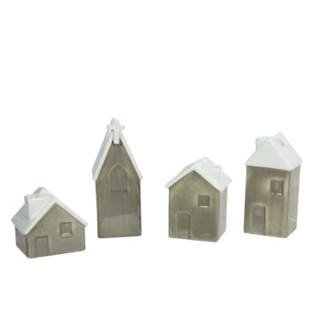 Roman 4ct Church and Houses Advent Christmas Taper Candle Holder Set 4.75