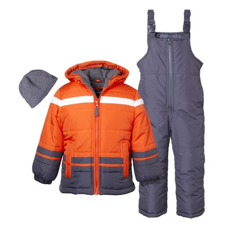 Sportoli Boys' Kids Winter Snowboard Skiing Parka Jacket & Snow Bib Snowsuit Set - Orange (Size 8) Ski Snowboard Suit