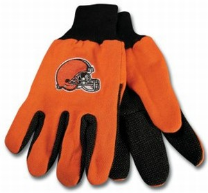 NFL Cleveland Browns Two-Tone Gloves, Orange Brown by McArthur