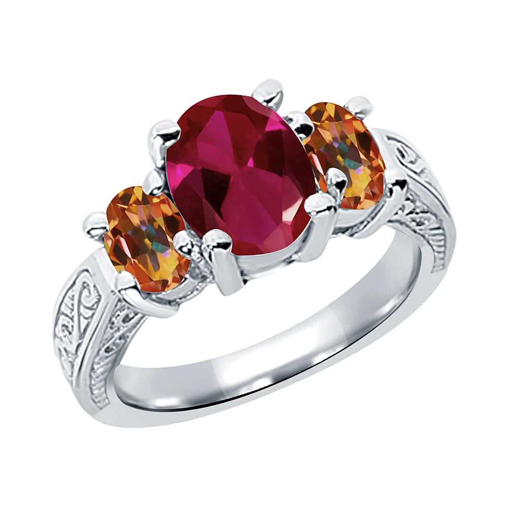3.49 Ct Oval Red Created Ruby Ecstasy Mystic Topaz 14K White Gold 3-Stone Ring