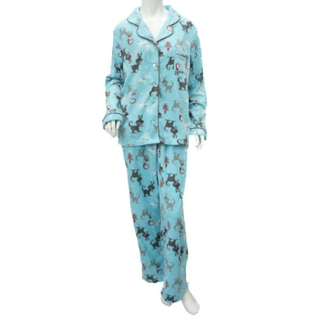 Womens Blue Holiday Dog Fleece Pajamas Notched Collar PJs