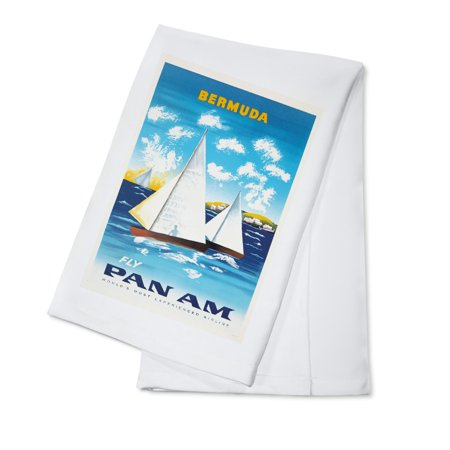 Pan Am - Bermuda Vintage Poster (artist: Anonymous) USA c. 1950 (100% Cotton Kitchen Towel) ()
