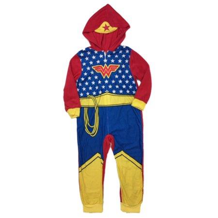 DC Comics Girls Plush Blue Wonder Woman Blanket Sleeper Footed Pajamas Size 4 (Wonder Woman Onsie)